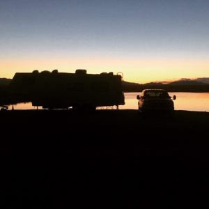 RV, Truck, Sunset, Sunrise