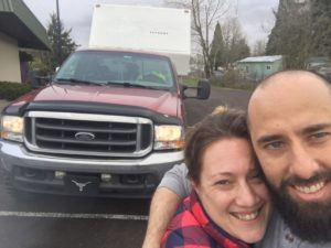 first picture, outside, F-250, 5th wheel, RV life, RV travel, RV couple