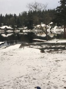 stanwood, WA, RV, lake, snow