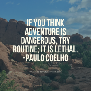 If you think adventure is dangerous, try routine; it is lethal, Paulo Coelho. quote, insperation, nomad life, digital nomad, life on the road, road life, RV life, quotes, inspirational quotes, life quotes, author, story, life story, traveling, traveling life, lifestyle