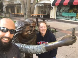 rv life, Selfie Statue, downtown, downtown sugar land texas, selfies, selfie stick,Sugar land, TX, Texas, rv road life, rv attraction, rv travel, rv living, fulltime rv life, rving, rving the US, USA travel, travel usa, usa roadside attractions, roadside attractions, road life, nomad, traveling nomad, accidental snowbirds, accidentalsnowbirds.com, travel bloggers, travel blog, blogger, roadside statue